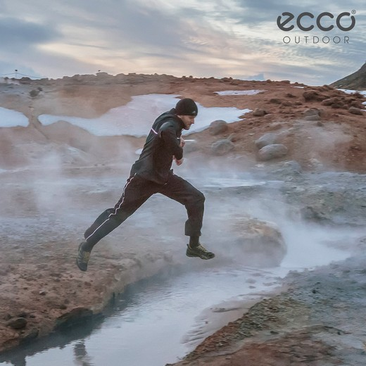 Russian athlete tested Ecco sneakers on an Icelandic volcano