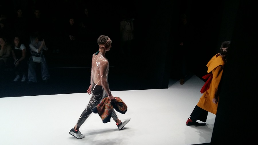 Display of the Artem Shumov x NotMySize shoe collection at Mersedes-Benz Fashion Week 2017