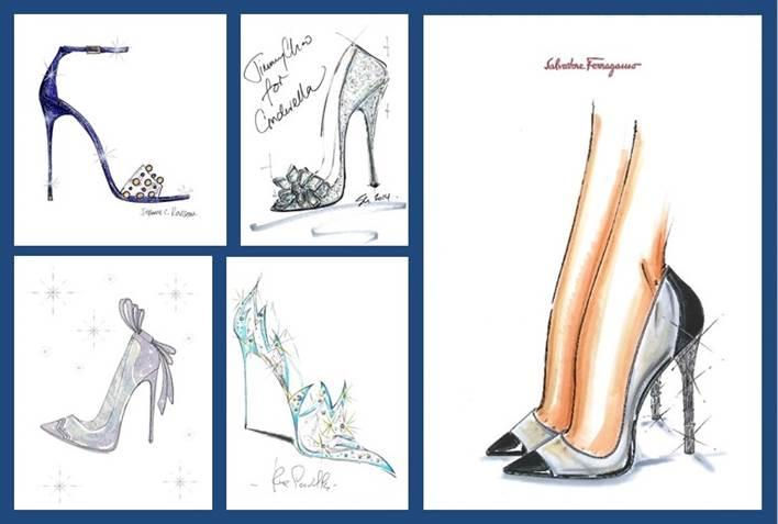 Nine shoe brands created shoes for Cinderella