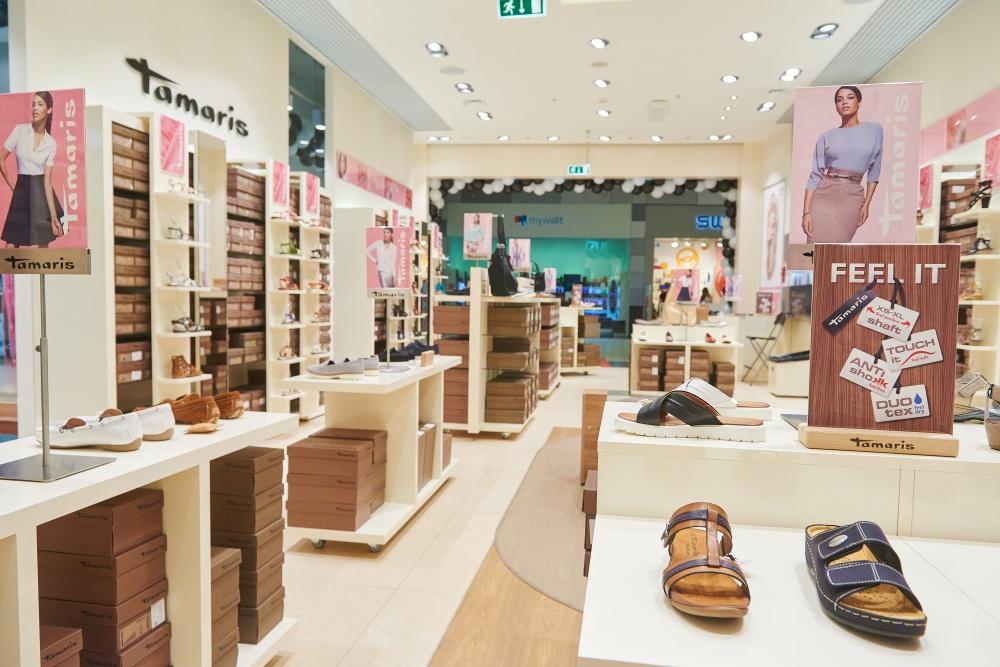 The new flagship store of the German shoe brand Tamaris in the shopping center MEGA Belaya Dacha