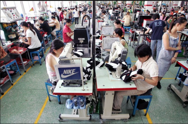 Chinese workers from a shoe factory on strike