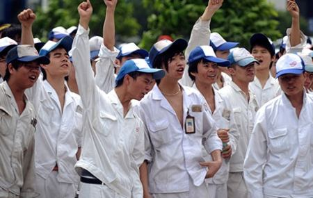 Chinese shoe factory workers on strike