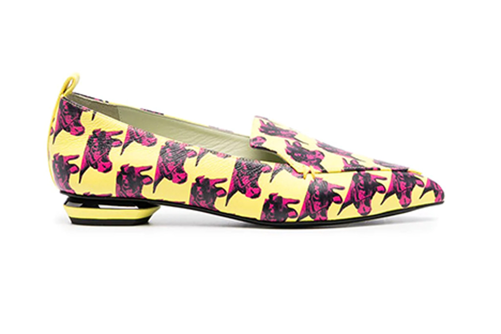 Loafers from Nicholas Kirkwood's shoe collection featuring Andy Warhol's cow series