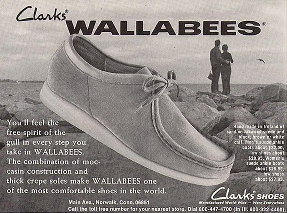 Annuncio di scarpe originali Clarks Wallabees degli anni '1970