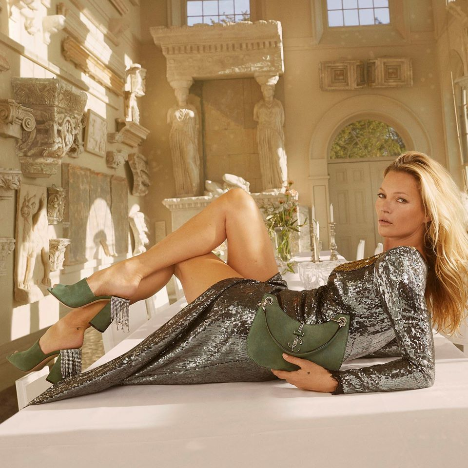 Kate Moss tried on Jimmy Choo shoes and handbags in the brand's new campaign