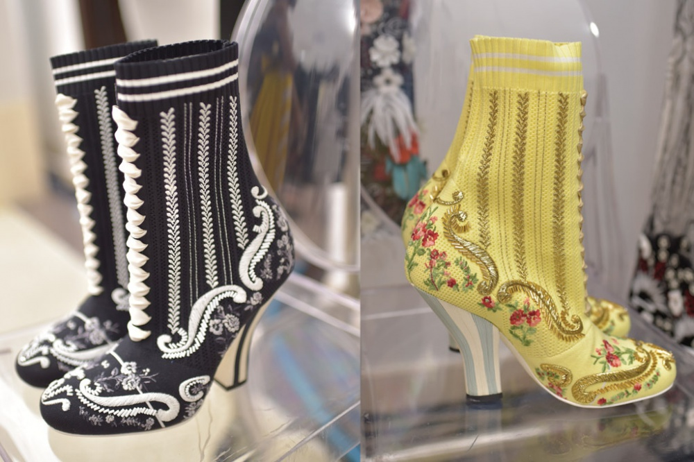 Haute-couture shoes at the show of the new Fendi collection
