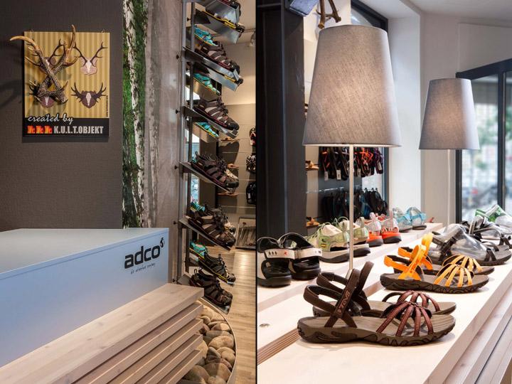 Tres interiores de venta de calzado que reflejan perfectamente el concepto de la marca.