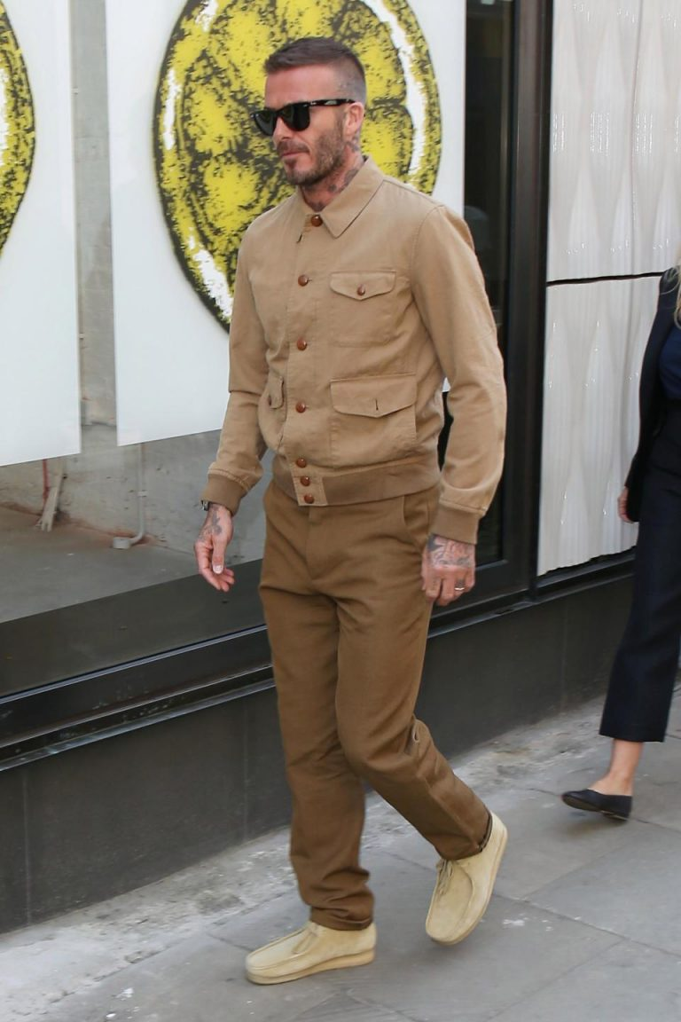 David Beckham в Wallabees на London Fashion Week