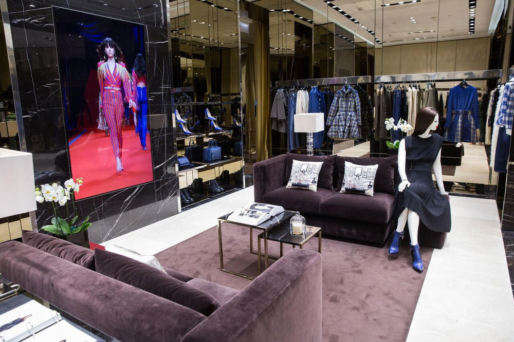 The luxury brand of clothes and shoes Elisabetta Franchi has a flagship boutique in Moscow