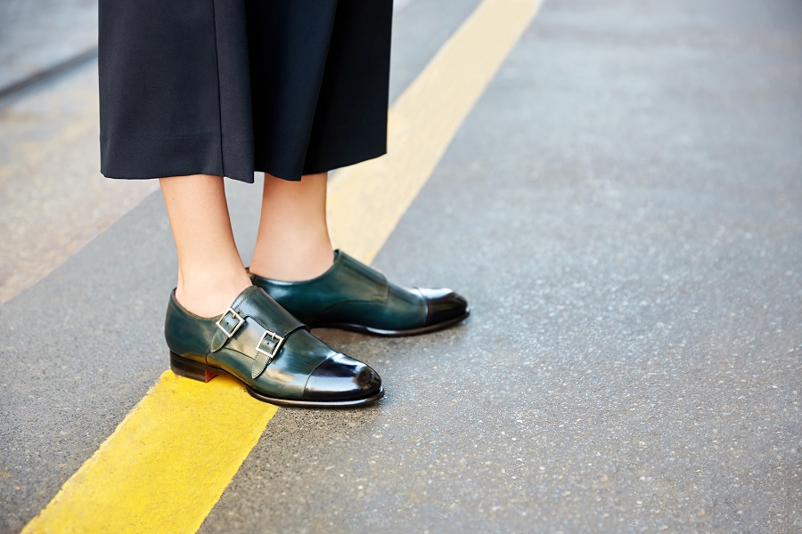 Santoni offers individual tailoring of female monks with a double buckle