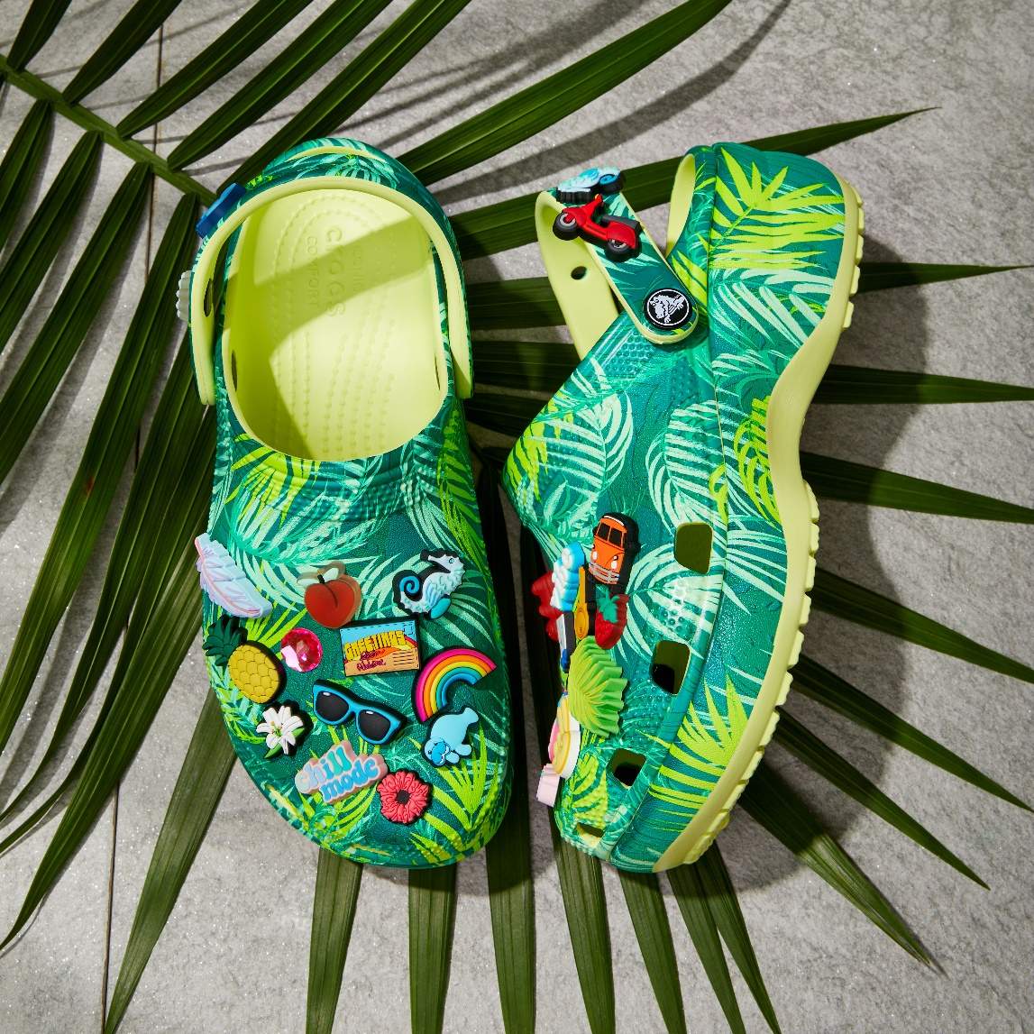 Crocs wore tropical print clogs and unveiled new sandals